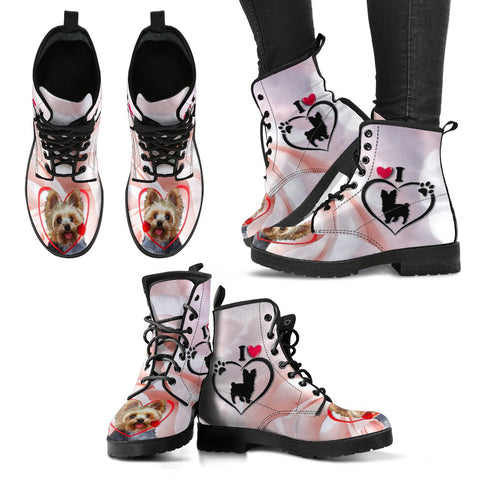 Valentine's Day Special Yorkshire Terrier Print Boots For Women