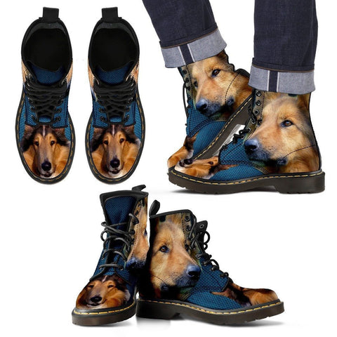 Collie Print Boots For MenExpress Shipping