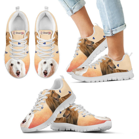 White Afghan Hound Print Running Shoes For Kids
