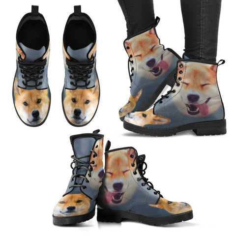 Cute Shiba Inu Print Leather Boots For Women Express Shipping