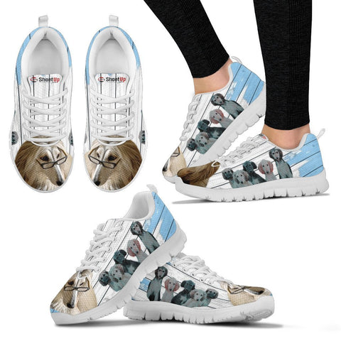 Afghan Hound With Puppies Blue White Print Sneakers For Women