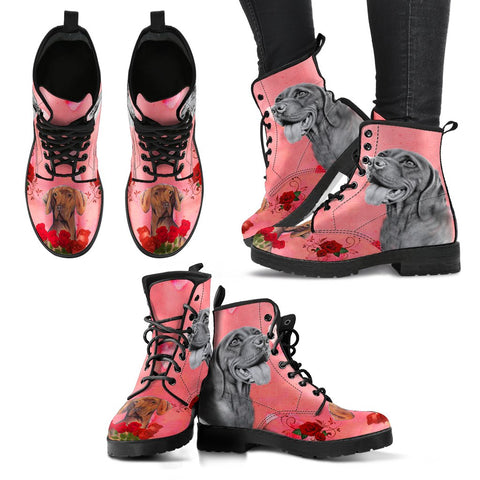 Valentine's Day SpecialVizsla Dog With Red Rose Print Boots For Women