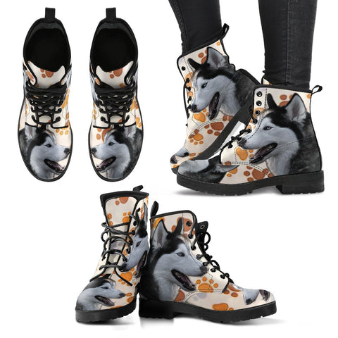 New Siberian Husky Print Boots For Women
