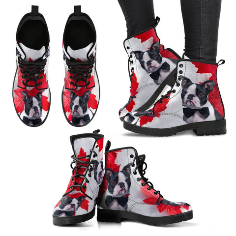 Valentine's Day Special Boston Terrier On Red Print Boots For Women