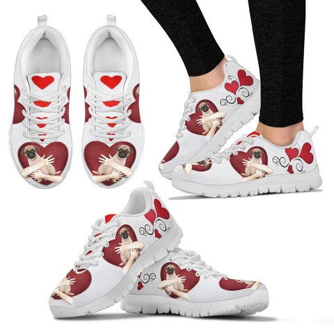Valentine's Day SpecialPug in heart Print Running Shoes For Women