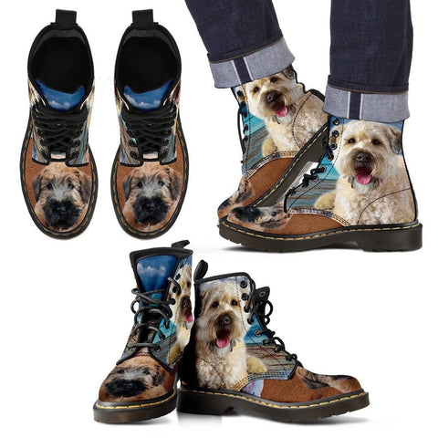 Soft Coated Wheaten Terrier Print Boots For MenExpress Shipping