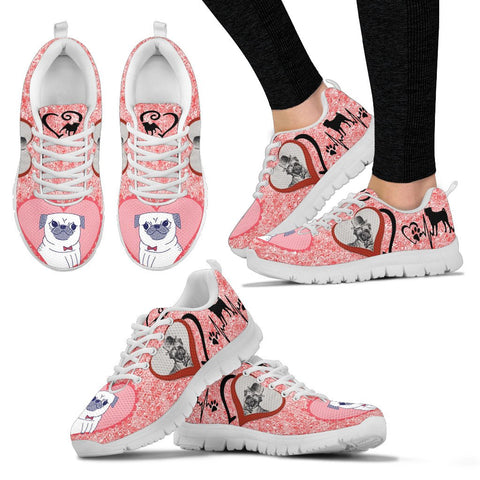 Valentine's Day SpecialPug Dog Print Running Shoes For Women