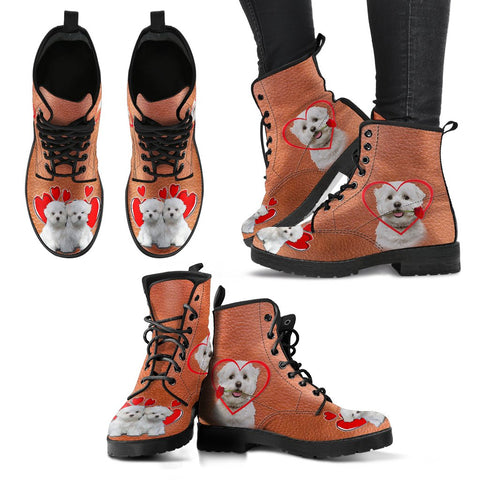 Valentine's Day Special Maltese Print Boots For Women