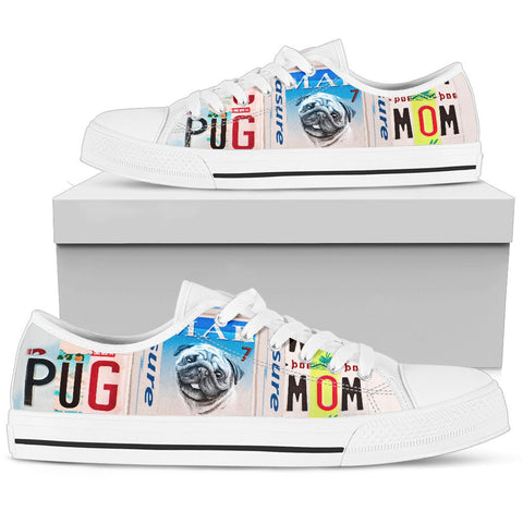 Cute Pug Mom Print Low Top Canvas Shoes for Women