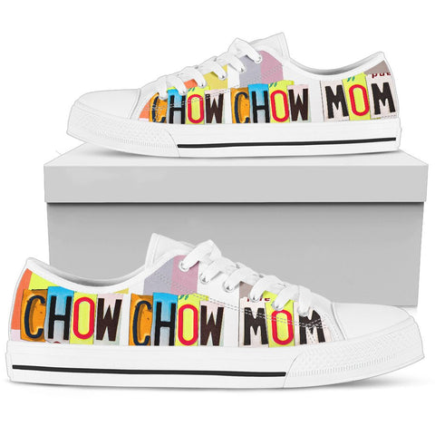 Chow Chow Mom Print Low Top Canvas Shoes For Women