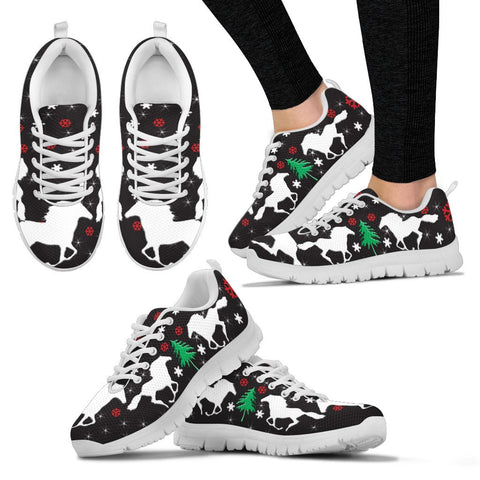 Thoroughbred Horse Print Christmas Running Shoes For Women