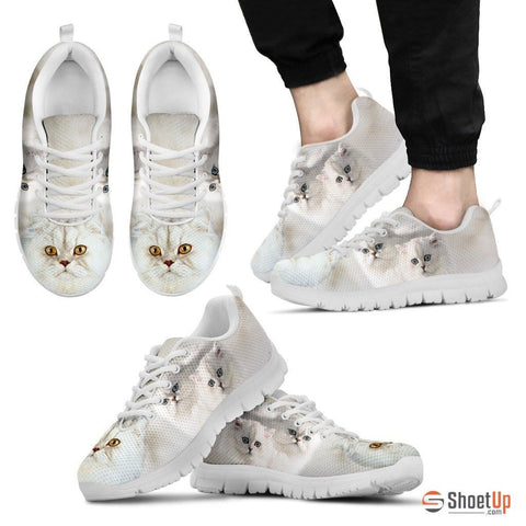 White Persian Cat Print Running Shoe For Men