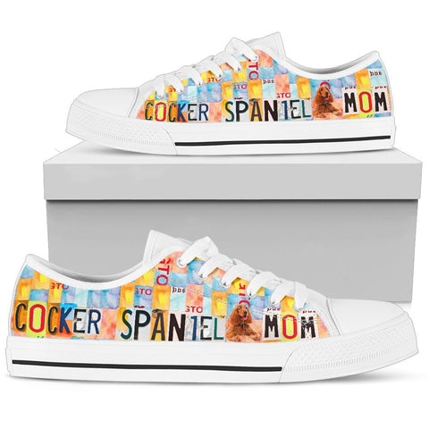 Cocker Spaniel Mom Print Low Top Canvas Shoes For Women