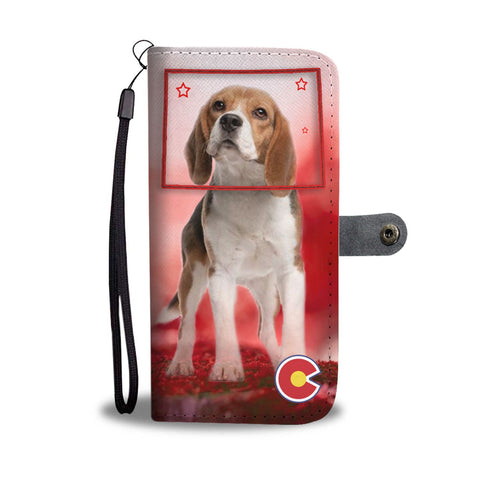 Beagle Print On Red Wallet CaseCO State