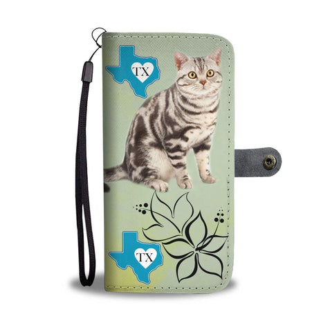 American Shorthair Cat Print Wallet CaseTX State