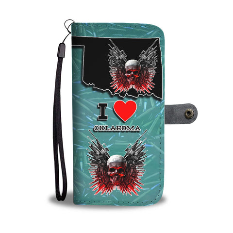 Amazing Gun And Skull Print Wallet Case-Free Shipping-OK State