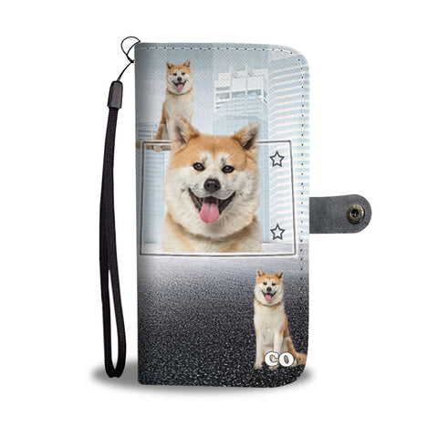 Akita Dog Print Wallet CaseCO State