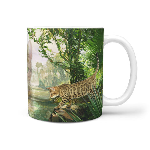 Bengal Cat In Jungle Print 360 Mug