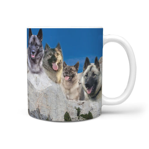Norwegian Elkhound Mount Rushmore Print 360 White Mug