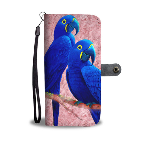 Amazing Hyacinth Macaw Parrot Print Wallet Case