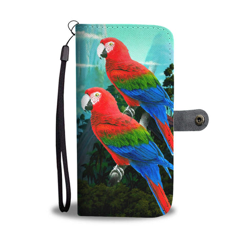 Amazing Red and Green Macaw Parrot Print Wallet Case