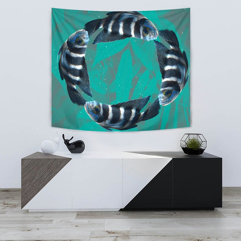 African Cichlid Fish Print Tapestry