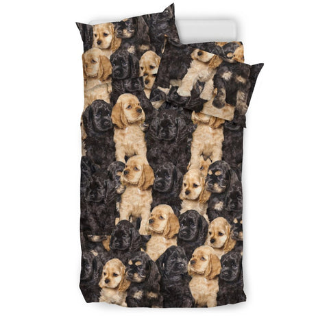 Cocker Spaniel Dog In Lots Print Bedding Set