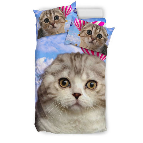 Scottish Fold Cat With Air Balloon Print Bedding Set
