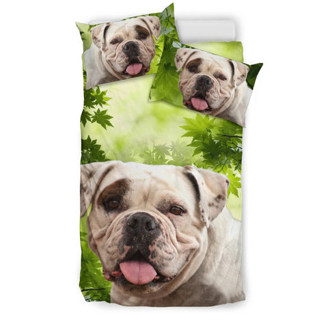 American Bulldog On Leaves Print Bedding Set