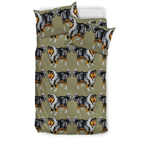 Rough Collie Dog Art Pattern Print Bedding Set