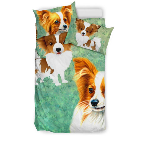 Cute Papillon Dog Art Print Bedding Set