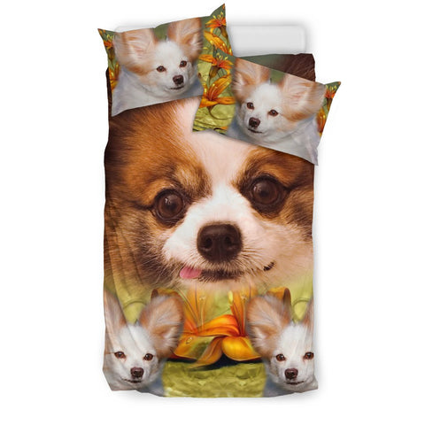 Cute Papillon Dog Print Bedding Set