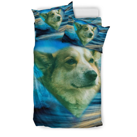 Cardigan Welsh Corgi Print On Blue Bedding Sets
