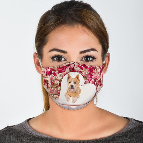 Norwich Terrier Floral Print Face Mask