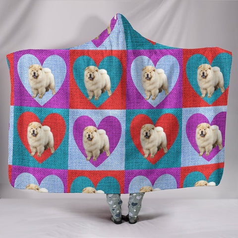Chow Chow Pattern Print Hooded Blanket