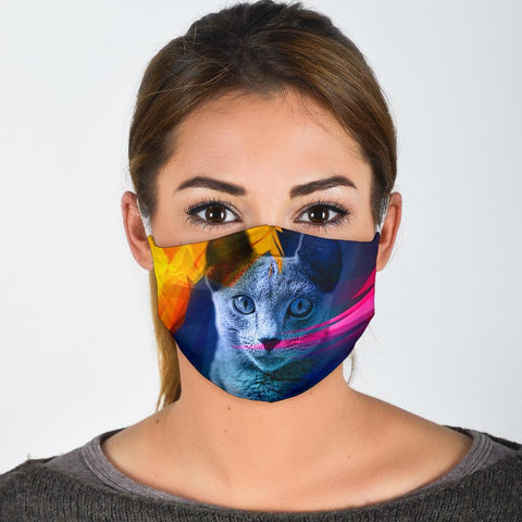 Lovely Russian Blue Cat Print Face Mask