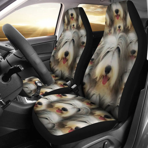 Bearded Collie Dog In Lots Print Car Seat Covers