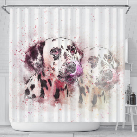 Dalmatian Dog Watercolor Art Print Shower Curtains