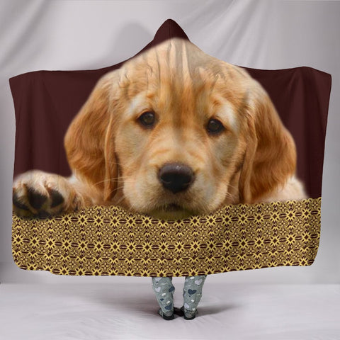 Golden Retriever Print Hooded Blanket