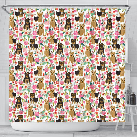 Cute Yorkie Floral Print Shower Curtains