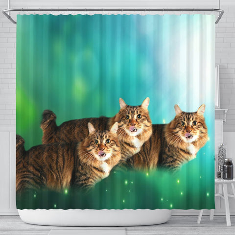Cute American Bobtail Cat Print Shower Curtains