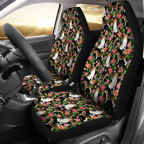 Beagle Dog Floral Print Car Seat Covers