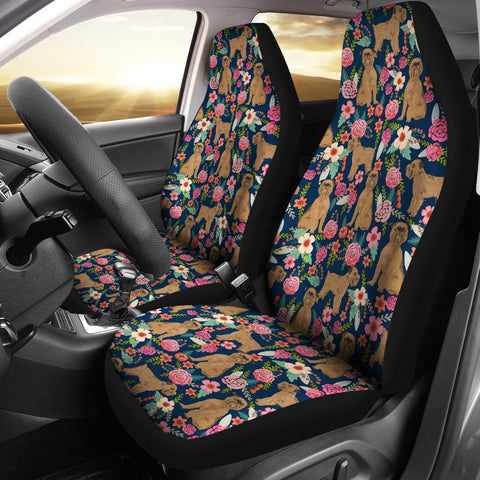 Brussels Griffon Dog Floral Print Car Seat Covers
