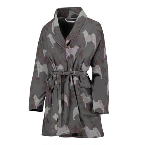 Norwegian Elkhound Dog Pattern Print Women's Bath Robe