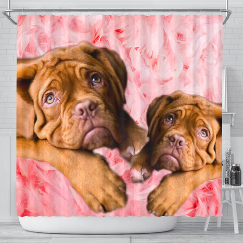 Bordeaux Mastiff On Pink Print Shower Curtains