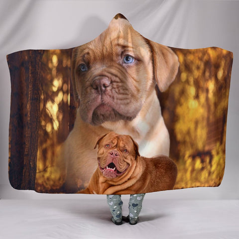 Cute Bordeaux Mastiff Print Hooded Blanket