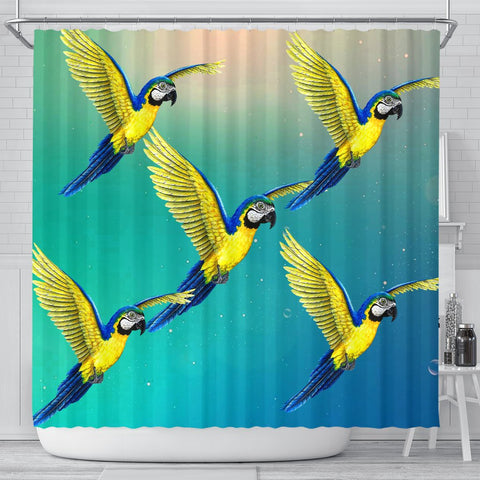 Blue And Yellow Macaw Parrot Print Shower Curtains