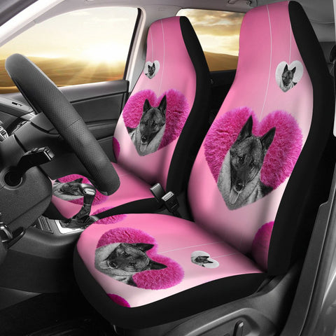 Norwegian Elkhound Dog In heart Print Car Seat Covers