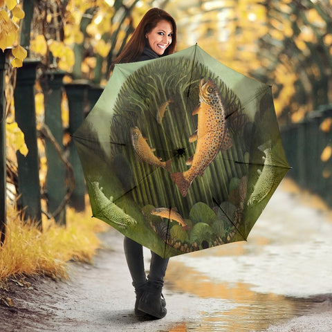 Amazing Brown Trout Fish Print Umbrellas