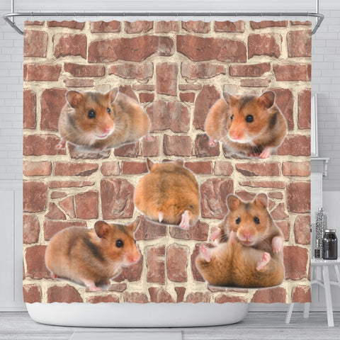 Cute Djungarian Hamster Print Shower Curtains